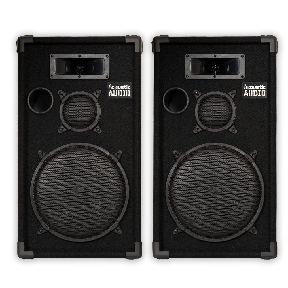 Acoustic Audio CR12 Passive 12 DJ Speaker Pair 3 Way PA Karaoke Band Speakers