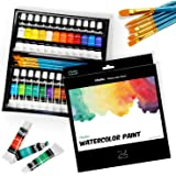 Watercolor Paint Set by Ohuhu 24 Premium Quality Art Watercolors Painting Kit with 6 Painting Brushes for Artists…