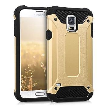 kwmobile Funda para Samsung Galaxy S5 / S5 Neo - Carcasa híbrida de TPU con diseño Transformer en Dorado/Negro