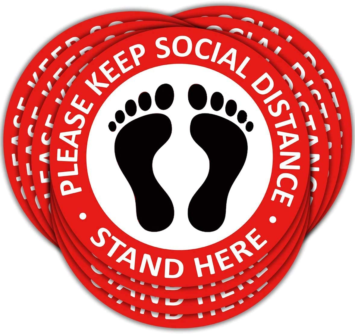"""10 Pack of 7"""" Social Distancing Floor Decals,Safety Sign for Crowd Control Guidance Indication Floor Stickers Signs, Made to Walk on Signage,Anti Slip Remove Easily…"""