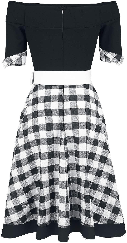 Belsira Schulterfreies Swing-Kleid Mittellanges Kleid schwarz weiß  Amazon. de  Bekleidung ebd18f4c4a