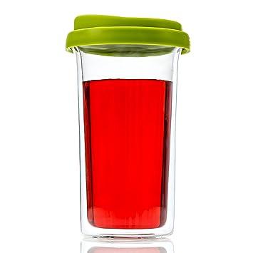 Con aislamiento doble-pared para vaso para té y café de cerveza ideal para bebidas calientes o bebidas frías 14 onzas incluye de silicio tapa: Amazon.es: ...