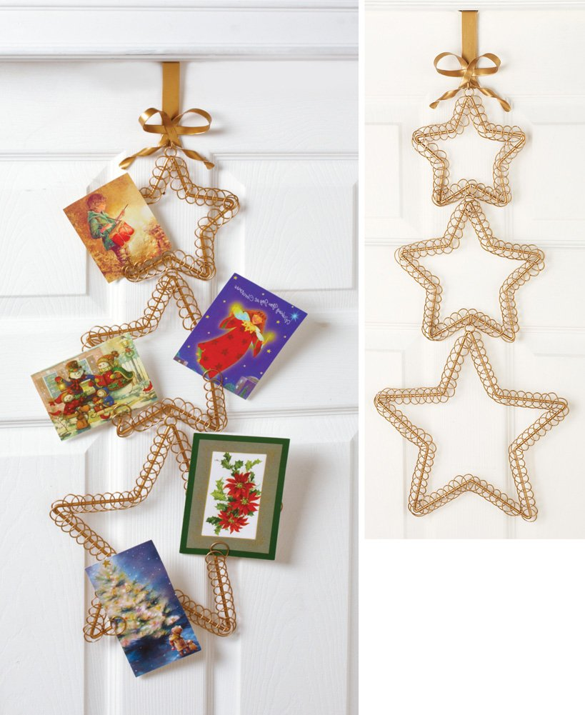 Gold Star Christmas Card Holder: Amazon.co.uk: Kitchen & Home