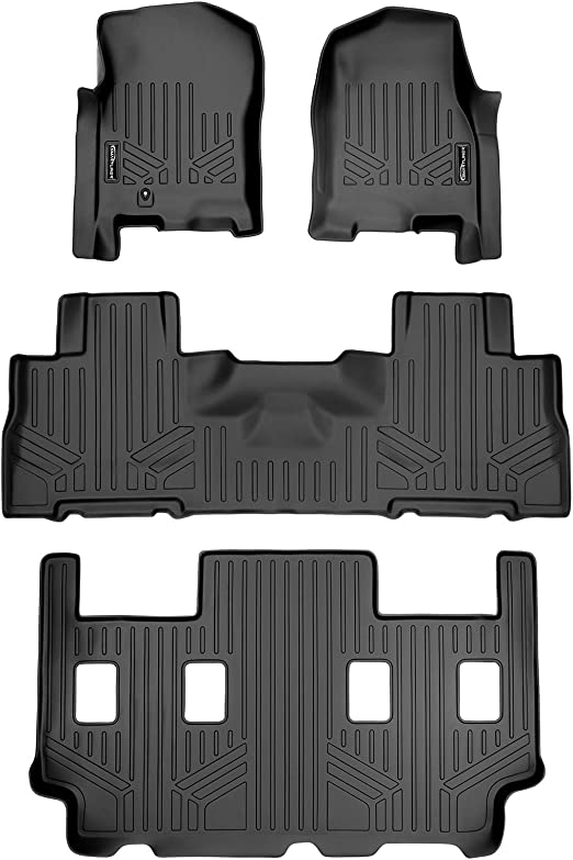 MAXLINER Floor Mats 2 Row Liner Set Black for 2011-2017 Ford Expedition Lincoln Navigator with 2nd Row Bucket Seats without Center Console