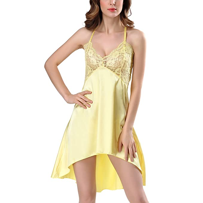 Dolamen Camisón para mujer, Mujer Mujer Lencería raso Satin Pijamas, Erotica Pijamas Conjuntos de