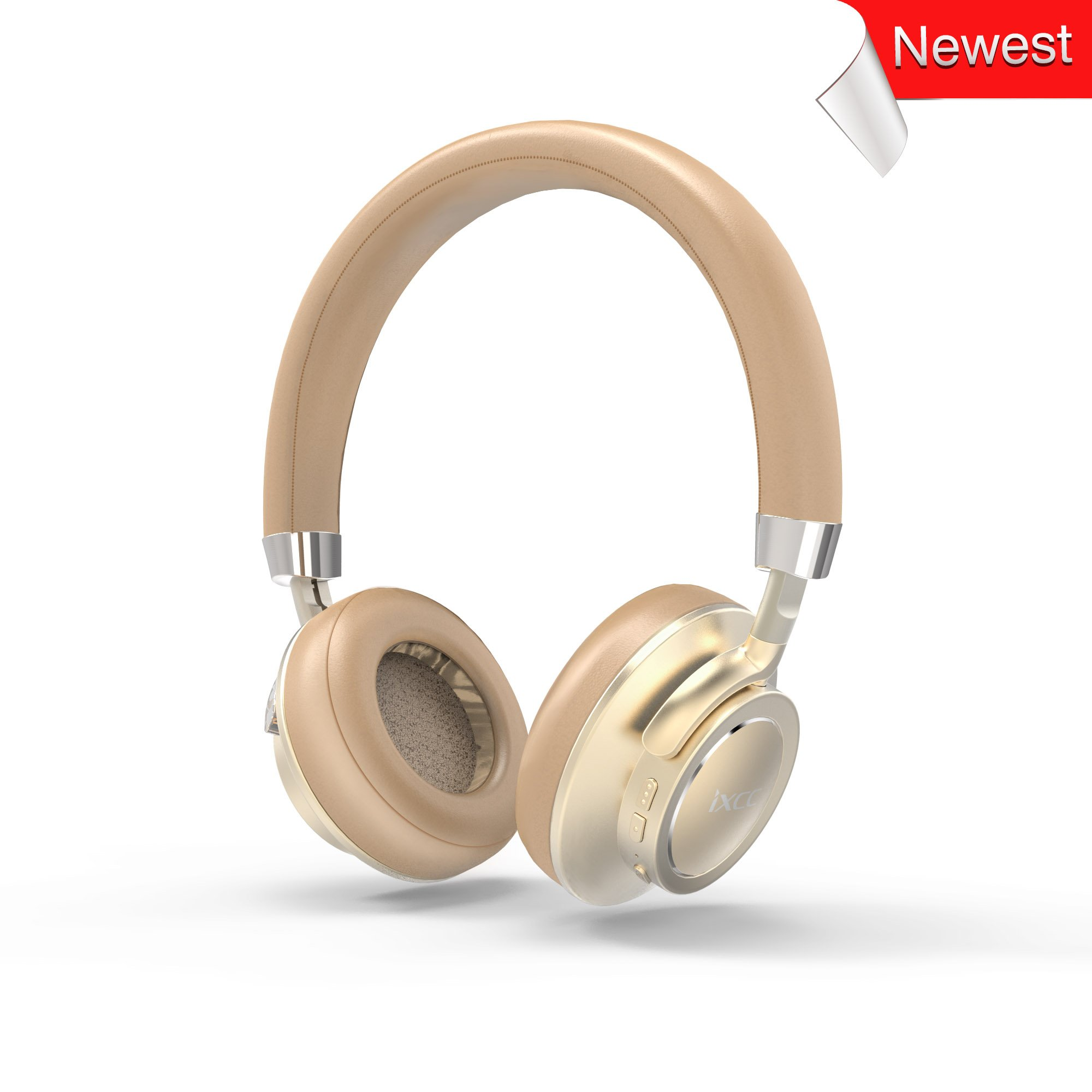 iXCC 17 Hrs Bluetooth V4.1 On-Ear Headphones with Mic, Hi-Fi Stereo Low Latency Wireless Headset, Soft Memory-Protein Earmuffs, and Wired Mode for PC/Cell Phones/TV - Gold