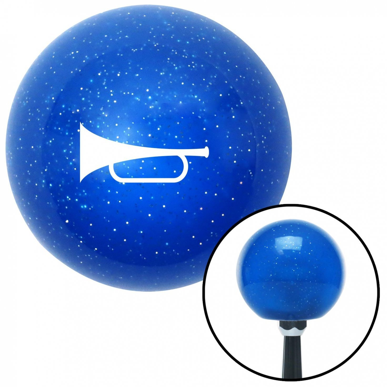 White Horn Trumpet American Shifter 21716 Blue Metal Flake Shift Knob with 16mm x 1.5 Insert