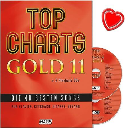 Top Charts Gold 11 – Las 40 mejores canciones para piano, teclado, guitarra y voz con 2 CDs y marcador de color rojo en forma de corazón