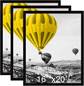 THREELOVE 16x20 Frame Black Solid Wood Wall Mounting Home Decor 16x20 Poster Frame, Set of 3