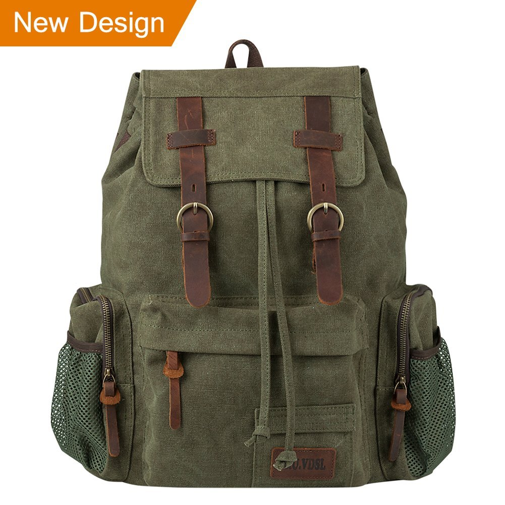 P.KU.VDSL Leather Backpack for Men, Vintage Canvas Backpack 25L for Women Travel Hiking, Fit 17'' Laptop