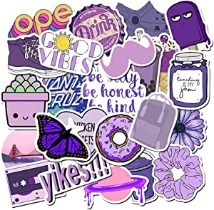 Stickers for Water Bottles, Hydro Flask Sticker Pack, Trendy VSCO Vinyl Aesthetic Stickers for Laptop Hydroflasks Skateboard, Waterproof Cool Cute Sticker for Teens Girls Adult (Purple)