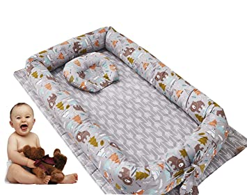 Brandream Baby Nest Grey Orange Baby Lounger Potable Crib Newborn Cocoon Snuggle Bed Woodland Fox Design