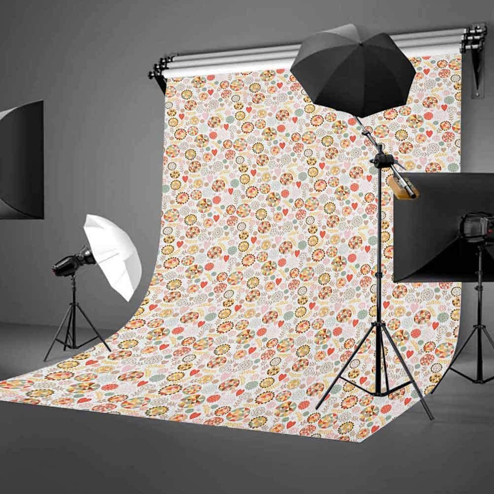 7x10 FT Vinyl Photography Background Backdrops,Spring Season Time Roses with Leaves and Buds with Pink Ombre Atmosphere Image Background for Child Baby Shower Photo Studio Prop Photobooth Photoshoot