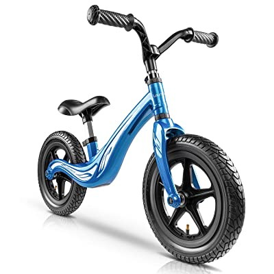 Lauraland Toddler Balance Bike, Kids Training Bicycle with Made of Lightweight Magnesium Alloy, Air-Filled Rubber Tires, No-Pedal Pre Walking Bike for Toddler & Children Ages 2 to 5 Years, Blue: Sports & Outdoors