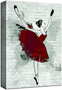 NWT Canvas Wall Art Ballet Dancer in Red Painting Artwork for Home Decor Framed - 16x24 inches