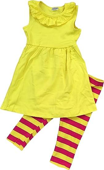 9d9259885d Amazon.com  BNY Corner Little Girl Cute Ruffle Summer Tunic Dress Pant  Outfit Set 2T-8  Clothing