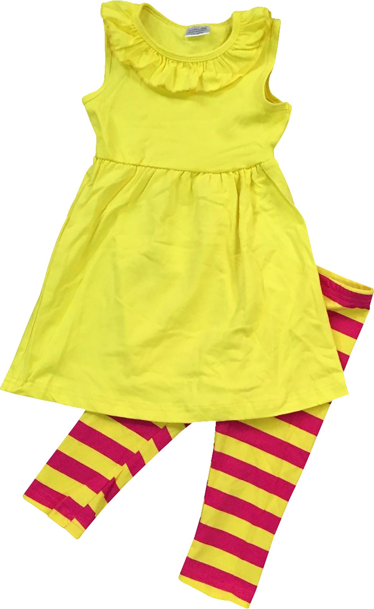 Little Girl Kids Ruffle Tunic Dress Summer Stripe Pant Set Yellow 6 XL 500681