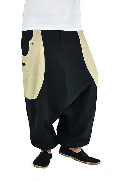 virblatt Pantalones Harem Hombre con algodón cáñamo. Ropa étnica Atractiva  Frohnatur Black Hemp  Amazon.es  Ropa y accesorios 68ce2e259990