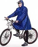 QIAN レインコート 自転車 バイク ロングポンチョ 雨具 通勤 通学 防水 フリーサイズ 高品質 男女兼用 (サファイア色)