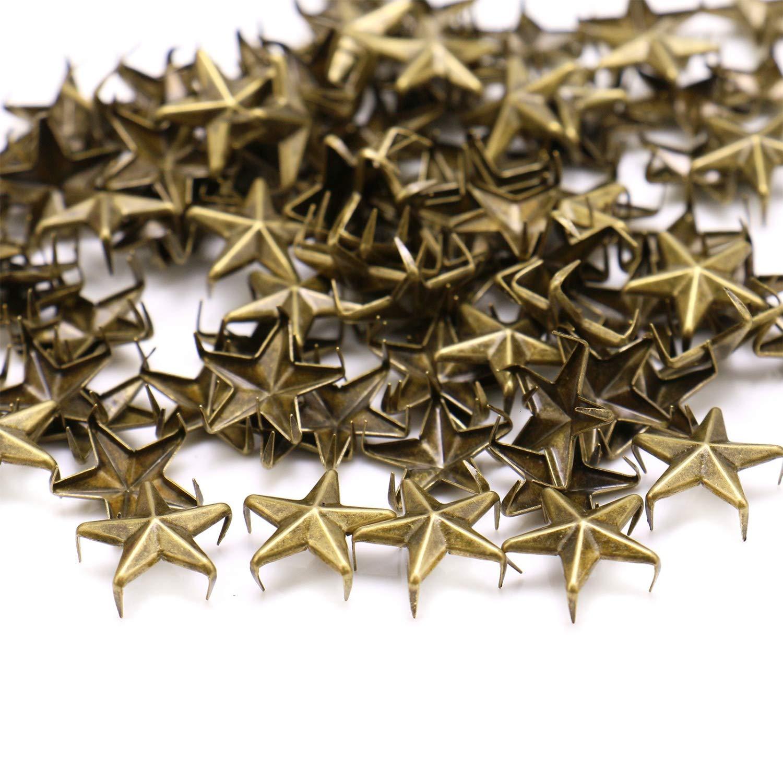 Bronze, 15 mm JETEHO 100 Pcs Star Studs Rivets Nailhead Studs Punk Stud Rivet Spik for Clothing Leather