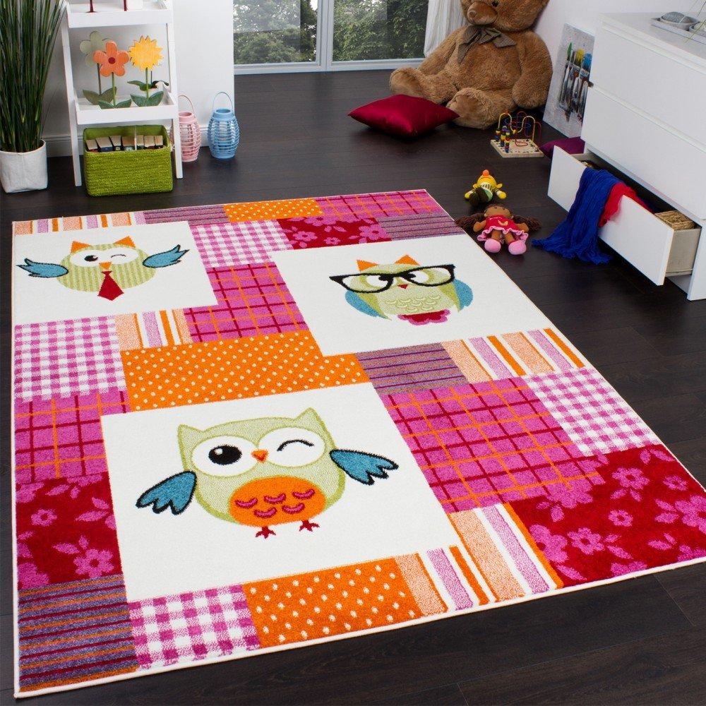 Teppich Kinderzimmer Trendige Eulen Kinderteppich Eule Mehrfarbig Pink Creme, Grösse:160x220 cm