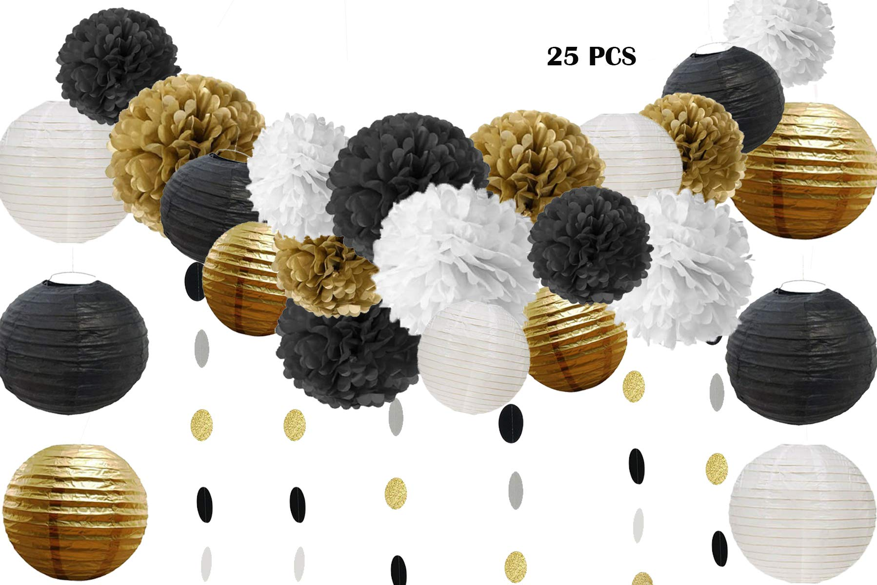 25 Pcs Black Gold White Tissue Pom Poms Paper Flowers Paper Lanterns for 40s 50s 60s 70s Birthday Party Decorations by HOMEJOY