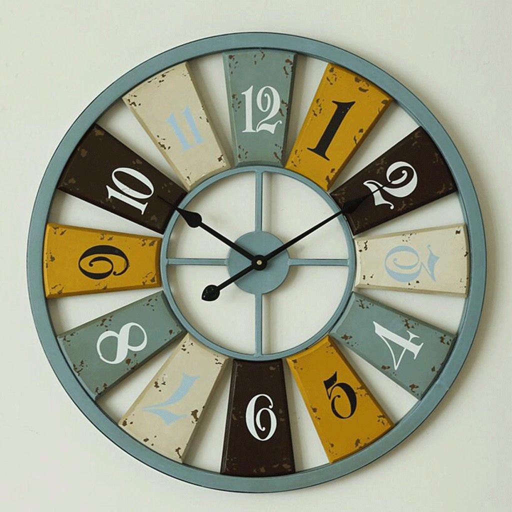 TXXM® アメリカのレトロアイアン70CMの壁時計地中海ラージクリエイティブリビングルームミュート装飾的な壁時計 B07F76JC96