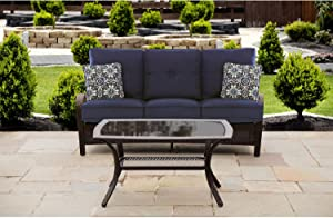 Hanover ORLEANS2PC-B-NVY Orleans 2 Piece Patio Set, Navy Blue Outdoor Furniture