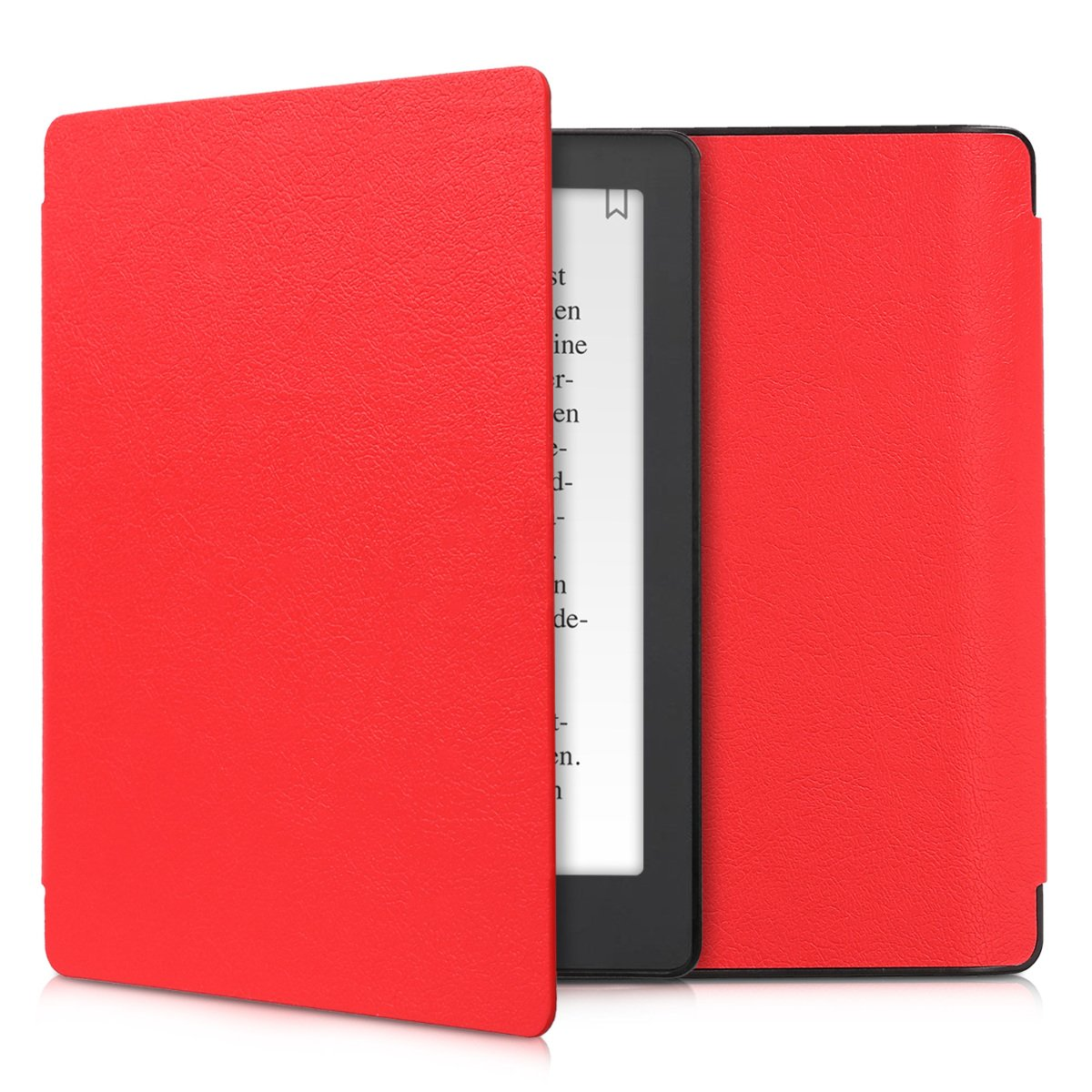 kwmobile Case for Kobo Aura H2O Edition 2 - Book Style PU Leather Protective e-Reader Cover Folio Case - red