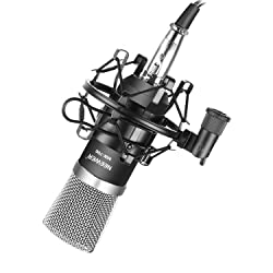 Neewer FO1000689R NW-700 Professional Studio Broadcasting & Recording Condenser Microphone Set Including: (1)NW-700 Condenser Microphone + (1)Metal Microphone Shock Mount + (1)Ball-type Anti-wind Foam Cap + (1)Microphone Audio Cable (Black)