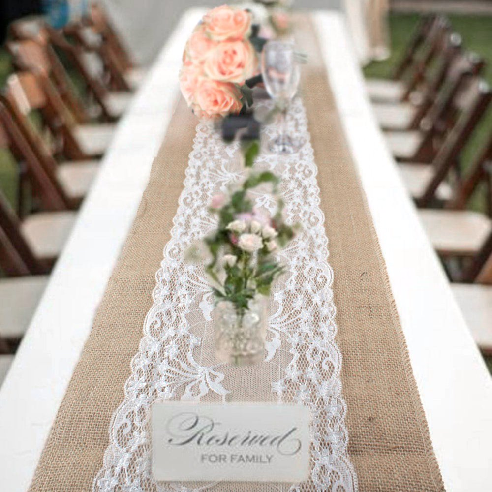 10pack Vintage Burlap Table Runners 30x275cm Rustic Jute Shabby Lace Hessian Table Runner for Wedding Festival Party Event Decorations Librao