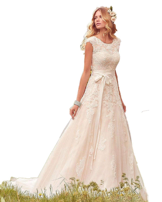 Automan Elegant Lace Tulle Wedding Dresses Elegant Boho Gown Bride