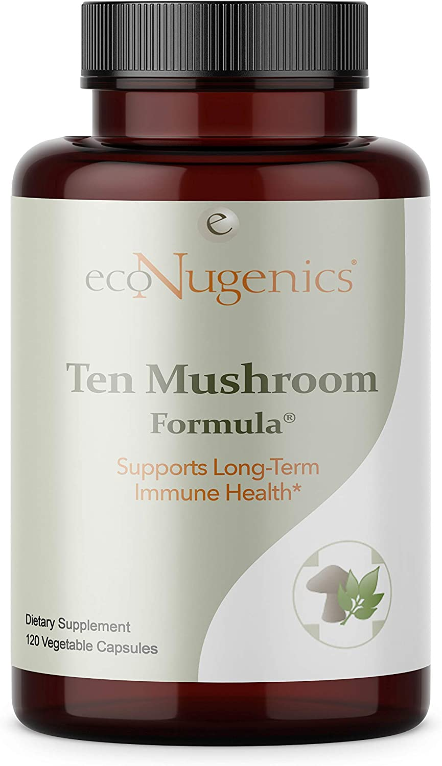 EcoNugenics Ten Mushroom Formula 120 Capsules Comprehensive Blend of Organic Medicinal Mushrooms Supports Immune System Total Body Health