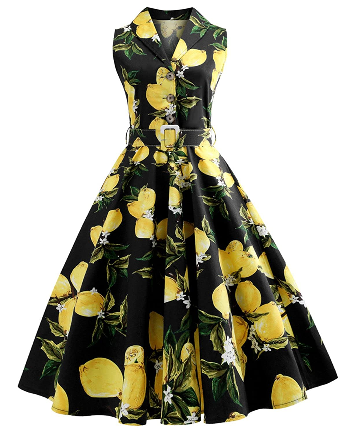 ca7bffc4c28 Top8  ZAFUL Women s Vintage Plus Size 1950s Rockabilly Audrey Lemon Dress  Button Lapel Sleeveless Floral Cocktail Dress with Belt