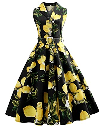 4b881850c ZAFUL Women s Vintage Plus Size 1950s Rockabilly Audrey Lemon Dress Button  Lapel Sleeveless Floral Cocktail Dress
