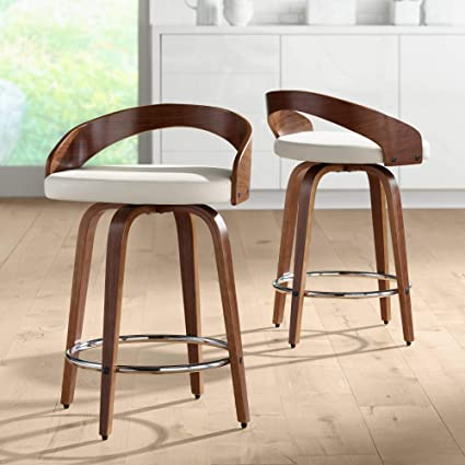 Super Gratto 24 Cream Faux Leather Swivel Counter Stools Set Of 2 Ncnpc Chair Design For Home Ncnpcorg