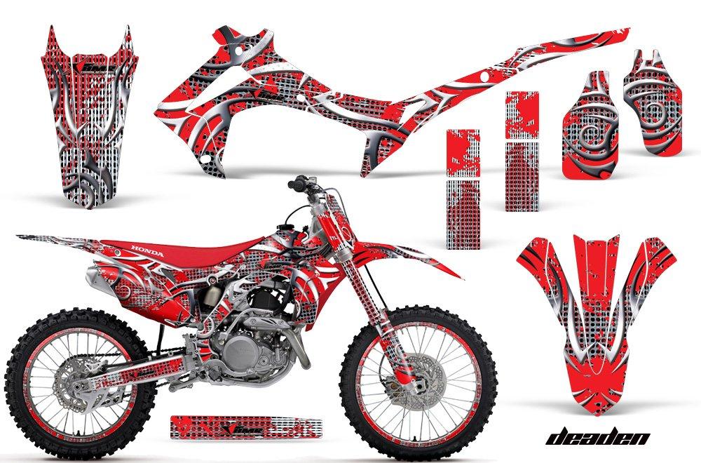 ホンダcrf250r 2014 – 2016 MXダートバイクグラフィックキットステッカーデカールCRF 250 R with number plates Deadenレッド   B07773RCN6