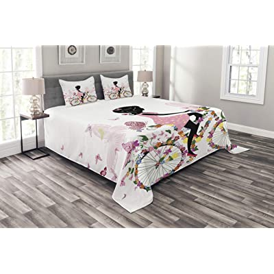 Ambesonne Bicycle Bedspread, Girl in a Pink Dress Riding a Bike with Colorful Flowers and Romantic Butterflies, Decorative Quilted 3 Piece Coverlet Set with 2 Pillow Shams, Queen Size, Multicolor: Home & Kitchen [5Bkhe0300186]