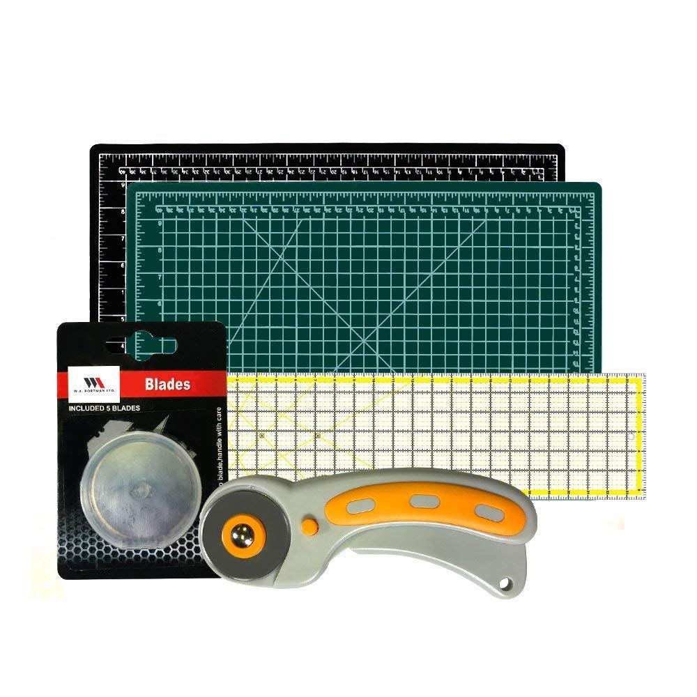 W.A. Portman Rotary Cutter with Self Healing Mat &Quilting Ruler –Professional Quilting & Sewing Set (12x18)