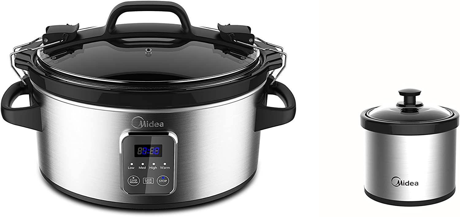 Midea Locking Lid Slow Cooker 6-Quart with 16-Ounce Warmer Crock