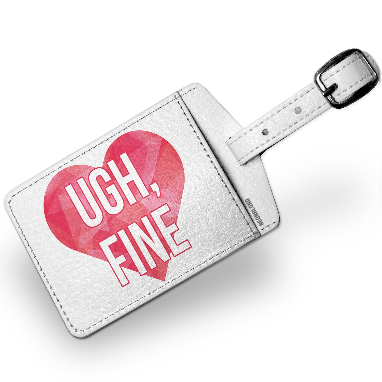 Luggage Tag Ugh, Fine Valentine's Day Hot Pink Geometric Heart - NEONBLOND