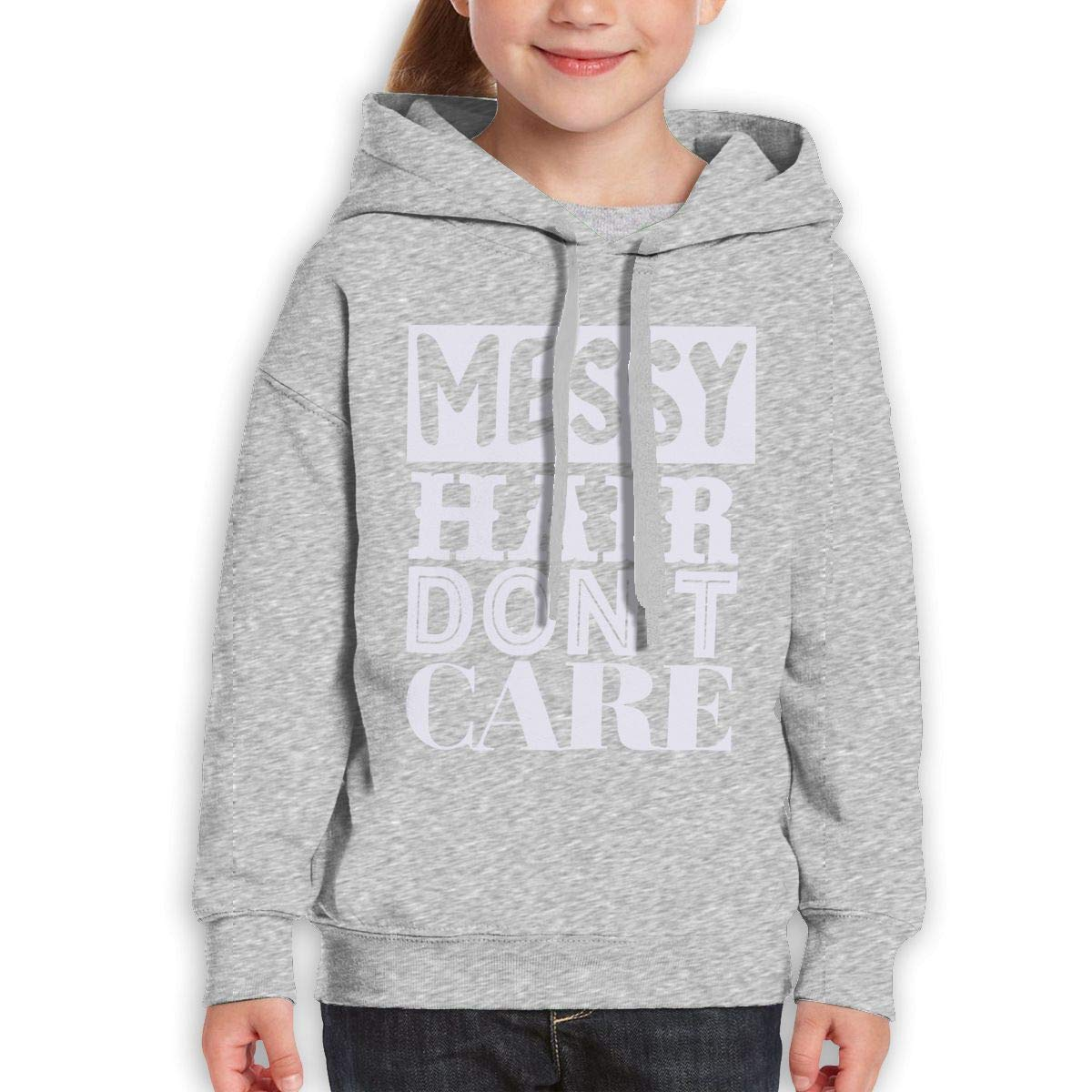 Boys Girls Messy Hair Dont Care Teen Youth Hoodies Black