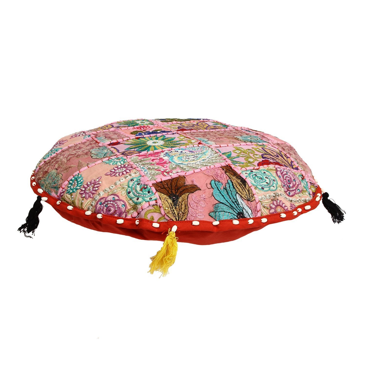 Only Cover Traditional Vintage Indian Pouf Floor//Foot Stool Bohemian Round Floor cushion Filler not Included,Embroidered Chair Cover Vintage Pouf 21,Indian Bohemian 100/% Cotton Art Decor Cushion