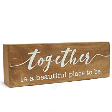 NIKKY HOME 8  Wooden Box Sign, Together is a Beautiful Place to be