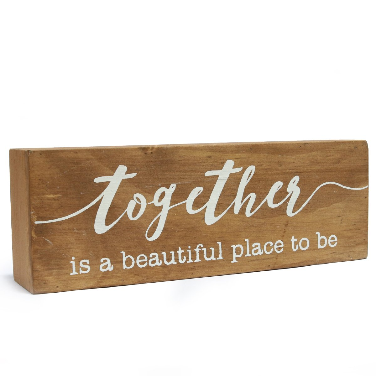 NIKKY HOME 8'' Wooden Box Sign, ''Together is a beautiful place to be''