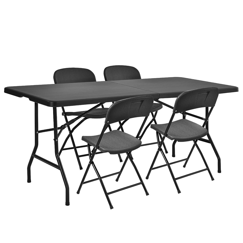 [casa.pro] Camping - Essgruppe (4 Klappstühle + Koffertisch im Sparpaket) (183 + 76 + 74cm)(47 x 39 x 87 cm) (grau - schwarz) UV - beständig / wasserfest