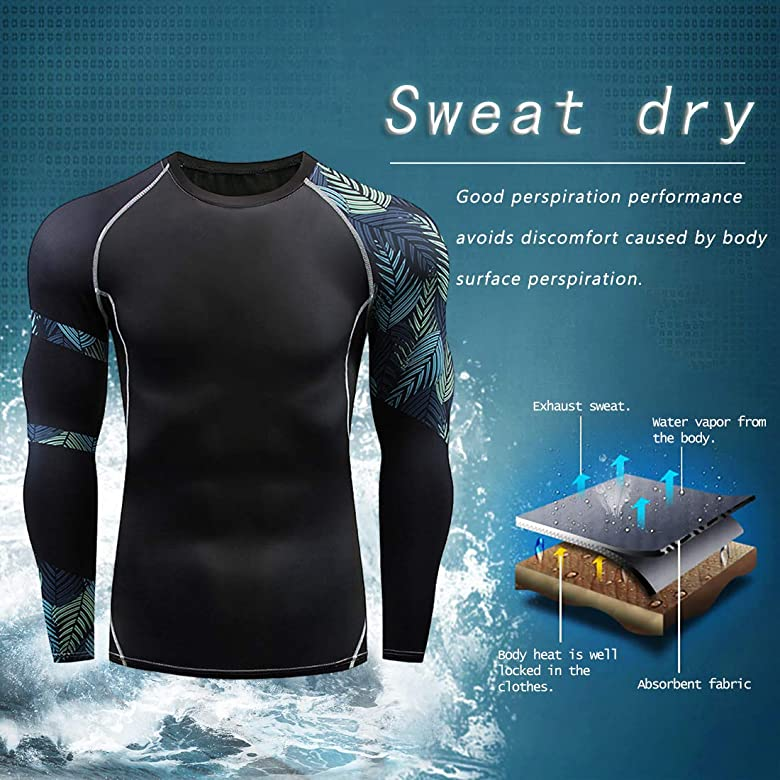 Witkey Mens Pro Compression Long Sleeve T-Shirt Sports Tights Baselayer Cool Dry