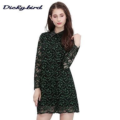 d211e1690f6b1 Autumn Women Dress Lace Mesh Hollow Turn-down Neck Floral Lady Dresses (S)