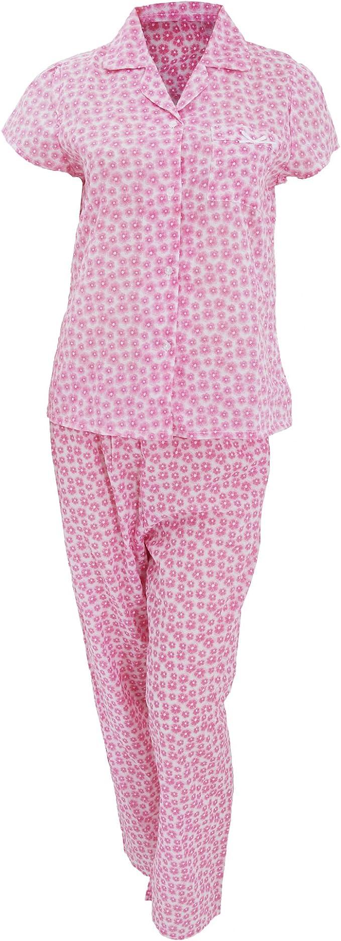 L9WEI Damen Schlafanzug V-Ausschnitt Hausanzug Set Pyjama Kurz Hose Set Loose Sleepshirt und Shorts Nachthemd Nachtw/äsche Kurzarm Sleepwear