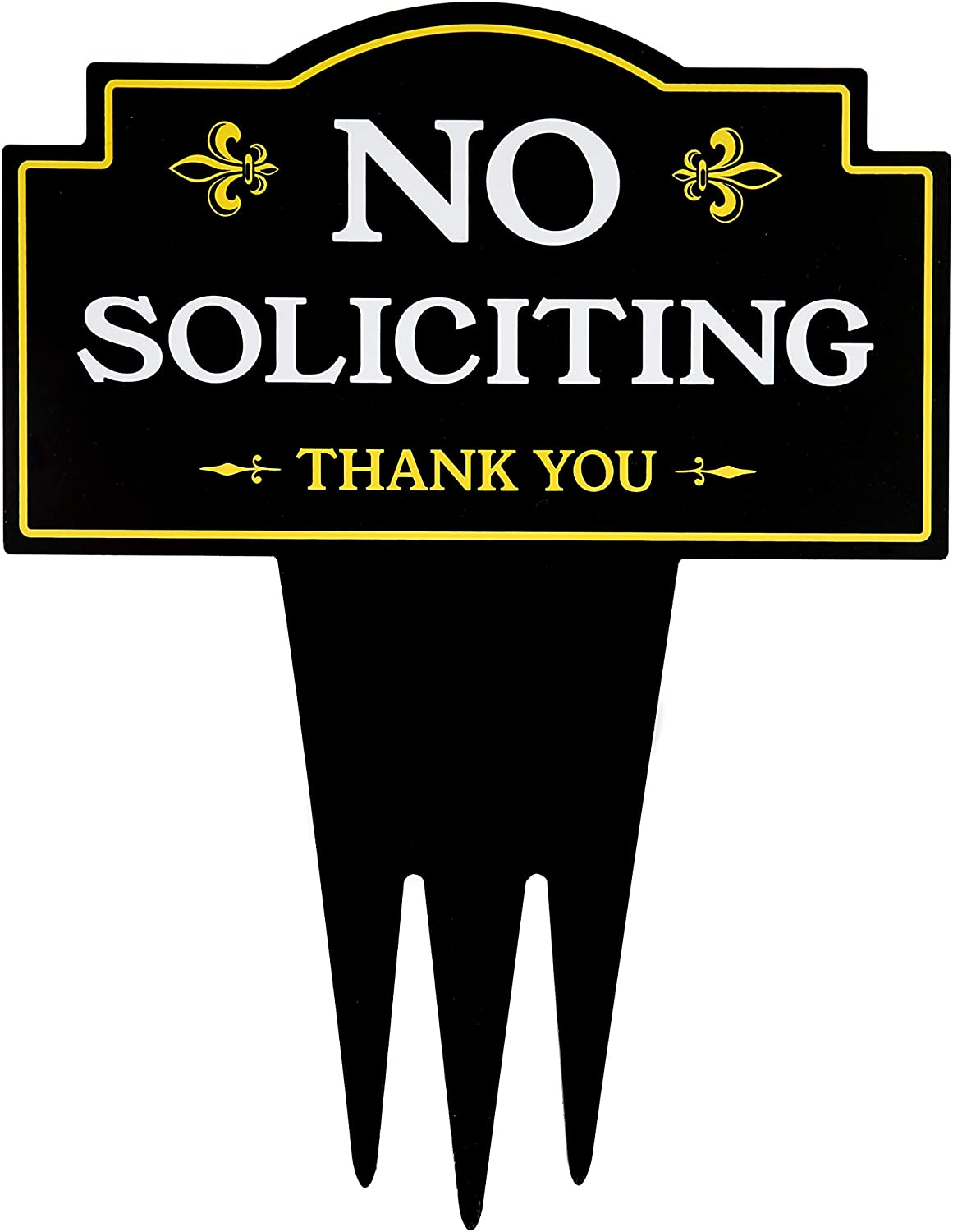 Brookfield Products No Soliciting Sign for Home with Stake | Unique Triple Self Staking Design | Heavy Duty Dibond Aluminum | No Salesmen, No Solicitors Yard Sign | Stakes Easily in Lawn